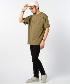 B:MING ヘビーウェイト ドロップショルダー ポケット Tシャツ    Style Color: Beige Khaki Black
