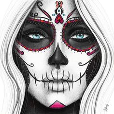 Day of the Dead art print from original pencil illustration. Pencil drawing of a woman's face. Day of the dead illustration of painted face. - Day of the Dead art print from original pencil illustration. Pencil drawing of a woman's face. Day Of The Dead Drawing, Day Of The Dead Artwork, Day Of The Dead Girl, Day Of The Dead Tattoo For Women, Day Of Dead, Sugar Skull Mädchen, Sugar Skull Tattoos, Half Skull Makeup, Sugar Skull Makeup