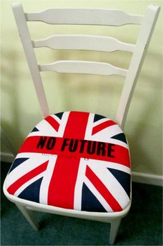 Union Jack Flag Punk Rock  CHAIR white shabby chic by ThePirates, £55.00