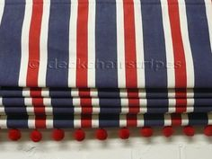 Red White and Blue Stripe Roman Blind with Red Bobble Fringe Trim I would leave off the bobbles