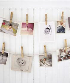 Baby shower game: Who's Who? Ask each guest to bring a photograph of herself as an infant. Number the clothespins and have everyone record their guesses!  We did this at my sister-in-laws baby shower, a lot of fun!
