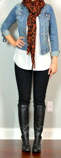 outfit post: white blouse, black skinny jeans, jean jacket, leopard scarf