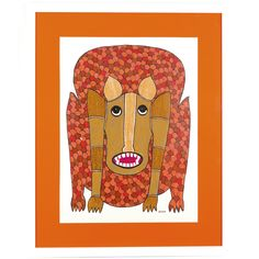 Fierce Gond Tiger Art - A portrait of a tiger in glorious colour, this Gond painting by Ramesh Tekam showcases the tiger in the true style typical of this art form.