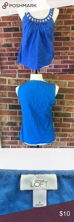 Ann Taylor LOFT Open Neck Sleeveless Tank Top 6 Very pretty blue color with a slight striped pattern. There are no holes or stains LOFT Tops Tank Tops