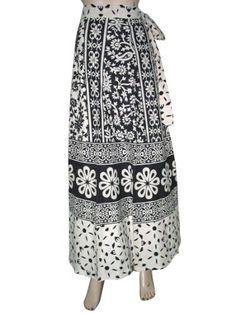 "Womens Wrapskirt Bohemian Clothing Black White Floral Print Wrap Around Skirts India 40"" Mogul Interior, http://www.amazon.com/dp/B009CN9F34/ref=cm_sw_r_pi_dp_5gewqb0H3NXGA$24.99"