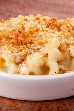 Fannie Farmer's Classic Baked Macaroni Cheese Recipe with a creamy cheddar cheese sauce and crispy bread crumb topping. The ultimate comfort food!