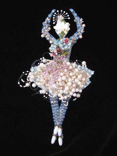 CJ Borden. Ballerina Vintage Jewelry Art  - Dance Art - Jewelry Wall Art - Home Decor by ArtCreationsByCJ on Etsy
