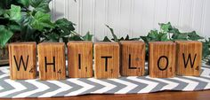 "Wood ""Last Name"" Scrabble Blocks! ~ Ribbons & Glue"