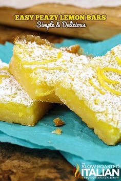 Easy Lemon Bars are my go-to lemon dessert recipe.  These mouthwatering lemon bars are bright and vibrant, they are utterly delicious.  The creamy texture and lemony flavor makes these a crowd favorite!  Easy prep, easy cleanup and gone in a snap.  My perfect ANYTIME bars.  Truly the best lemon bars ever!