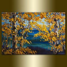 Original Autumn Birch Tree Forest Textured Palette Knife Landscape Painting Oil on Canvas Contemporary Modern Art Seasons 24X36 by Willson. $375.00, via Etsy.