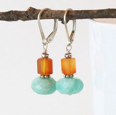 Amazonite Carnelian Earrings Sterling Silver Drop DJStrang Dangle Boho Chic Fiery Orange Pale Aqua Lever Back