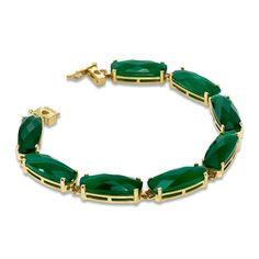 Cushion-Cut Green Chalcedony Line Bracelet in 10K Gold
