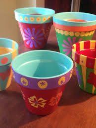 Painted Flower Pots  #crafts #DIY #flowerpots