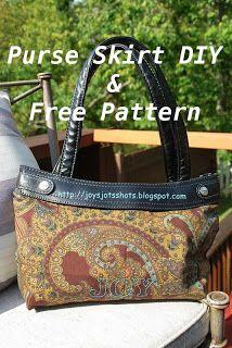 Joy's Jots, Shots & Whatnots: Free Skirt Purse Pattern w/ Tutorial