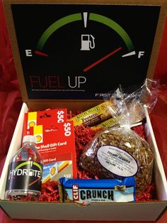 """""""Fuel Up! We hope this gift box jumpstarts your day with a little extra energy!""""… Fuel Up! We hope this gift box jumpstarts your day with a little extra energy! College Gift Boxes, College Gift Baskets, College Gifts, College School, College Fun, Homemade Christmas Gifts, Homemade Gifts, Diy Gifts, Staff Gifts"""