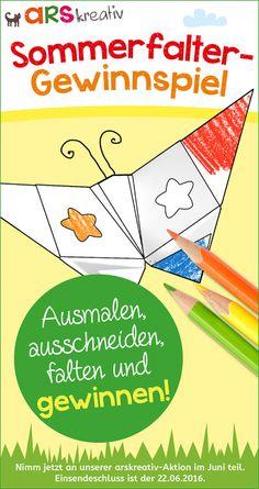 """Bastel mit unserer arskreativ Vorlage deinen Sommerfalter und gewinne eines von drei arskreativ-Büchern """"Papier-Basteleien"""". #arskreativ #DIY"""