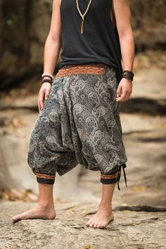 Paisley Thai Hill Tribe Fabric Men's Harem Pants with Ankle Straps