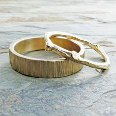 Solid 14k Matching Tree Bark / Twig Wedding Band Set in Wood Grain Yellow Gold - Flat, Rectangular and Branch Commitment Rings  This set…