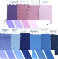 Light Summer Fabric Swatches from the drapes I use in colour analysis. Cool Summer Palette, Summer Colors, Summer Skin, Soft Summer, Seasonal Color Analysis, Color Me Beautiful, Light Spring, Season Colors, Fabric Swatches