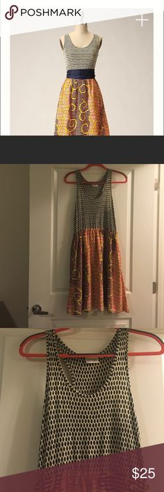 🐝🌟Anthropologie flight of the bees dress!🌟🐝 Unique anthro dress with stretchy jersey type top and silky bottom.  It has pockets but one has a little hole in it and needs a bit of a stitching. Very fun and great for summer or fall. No sash. Priced accordingly. Offers and trades welcome 🐝 Anthropologie Dresses Midi