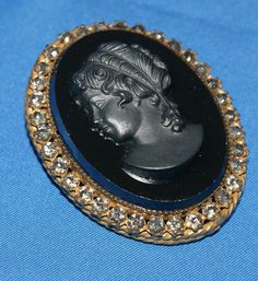 Gorgeous Black Cameo and Rhinestone Brooch by by KatsCollection, $24.99