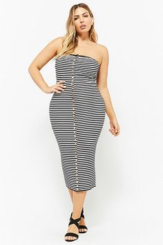 c724e18b314 Plus Size Striped Button-Front Midi Tube Dress Plus Size Fashion For Women