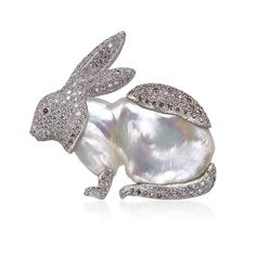 Rabbit Brooch in White gold with Pearl, diamonds, fancy brown diamonds and rubies. Animalier - High Jewelry Baroque Pearls Collection - Buccellati Milano, since 1919