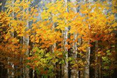 """""""Umber Woodlands"""" original landscape painting by Tatiana Iliina acrylic on canvas, 24'x36"""""""