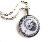 """Prague Astronomical clock necklace, photo under resin set in 1"""" pendant with chain on Etsy, $17.00"""