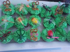 Insect birthday party with bug cupcakes