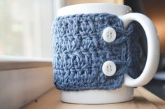 Crochet Mug Cozy  Denim with White Buttons by Churlagirl on Etsy, $10.00