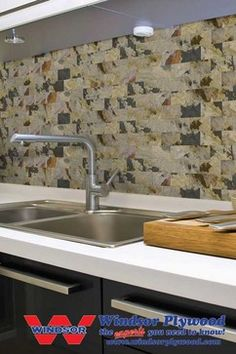 """Self-adhesive slate veneer wall tiles  kitchen tile  Lightweight, cork backed 3"""" x 6"""" tiles are easy to work with.  Easy to cut tiles don't require spacers or grout.  Pre-sealed with varnish for easy to clean durability.  Many uses from back splashes to feature walls.  Eco friendly cork backing."""