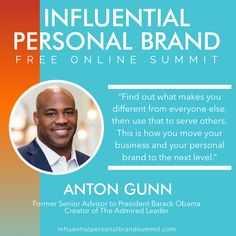 And here's our amazing BONUS interview in part two of today's Influential Personal Brand Free Online Summit with the motivating Anton Gunn! He's a Brandbuildersgroup friend and client and is changing lives!  Anton Gunn is a former senior advisor to President Barack Obama and the world's leading authority on Socially Conscious Leadership. Building A Personal Brand, Senior Advisor, Radio Personality, Brand Strategist, Keynote Speakers, Instagram Influencer, Everyone Else, Social Work, Personal Branding