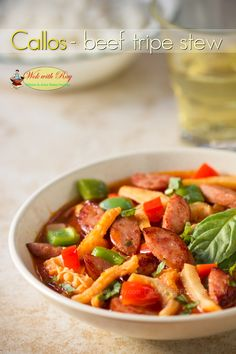 Callos (Beef Tripe Stew) Peterson Peterson King Soileau with Ray Filipino & Asian Home Style Cooking Tripe Recipes, Entree Recipes, Filipino Recipes, Asian Recipes, Beef Recipes, Cooking Recipes, Renee King, Beef Tripe, Philippine Cuisine