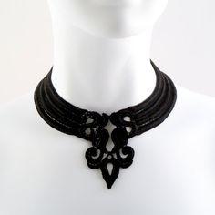 Fleur de Lys Choker black necklace lys french fashion by Arthlin, $23.00
