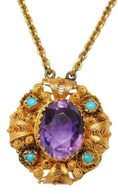 Amethyst turquoise pendant necklace, mid 19th century