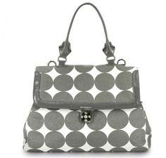 """OOYOO diaper bag """"Brooke"""" dots dove gray satchel - front view"""