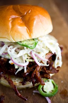 Recipe: Pulled pork sandwiches with spicy jalapeño slaw || Photo: Andrew Scrivani for The New York Times