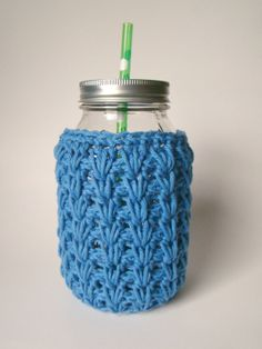 Large Blue Mason Jar cozy Crochet jar sleeve by HookMadness, $10.00