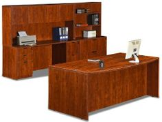 Cherry 9 Piece Executive Office Set by Marquis International. $1429.99. The Marquis Laminate Collection is a premier desk series Clean lines and simple design Cherry finish 3mm edge banding Thermal-fused laminate surface Easy assembly Set Includes: Bow Front Desk Shell 70.75''W x 35.5/41.25''D x 29.5''H Bow Front Desk Shell includes: Pedestal File/File with Lock 15.625''W x 22''D x 28''H Pedestal Box/Box/File with Lock 15.625''W x 22''D x 28''H Credenza Shell Credenza Shel...