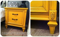 Classy Clutter: Mustard Yellow Night Stand - Yep, this is the color I'm going to paint my dresser! Krylon's Bauhaus Gold with a brown glaze. Yellow Nightstand, Diy Nightstand, Entryway Dresser, Furniture Projects, Furniture Makeover, Diy Furniture, Bedroom Furniture, Diy Projects, Yellow Painted Furniture