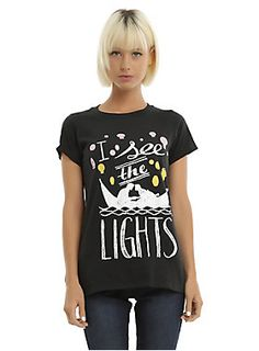"""<i>And at last I see the light<br>And it's like the fog has lifted<br>And at last I see the light<br>And it's like the sky is new<br><br></i>Fitted<i> </i>black tee from <i>Tangled </i>with a silhouette of Rapunzel and Flynn on a boat surrounded by lanterns and """"I see the lights."""" <i><br></i><ul><li style=""""LIST-STYLE-POSITION: outside !important; LIST-STYLE-TYPE: disc !important"""">100% cotton</li><li style=""""LIST-STYLE-POSITION: outside !important; LIST-STYLE-TYPE: disc !important"""">Wash cold…"""