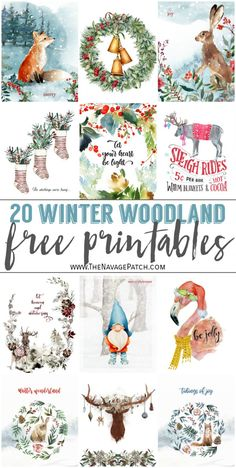 20+ Beautiful Free Watercolor Winter Woodland Printables | Free watercolor Christmas printables | Free Christmas printables | Free printable watercolor art for winter| Free printable holiday wall decor | #TheNavagePatch #FreePrintable #watercolor #easydiy #Christmasprintables #Typography #Christmas #Holidaydecor #DIYChristmas | TheNavagePatch.com Christmas Paper Crafts, Noel Christmas, Holiday Crafts, Christmas Decorations, Holiday Decor, Xmas, Woodland Christmas, Christmas Nativity, Christmas Ideas