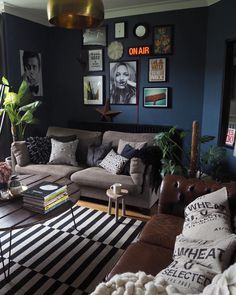 Navy blue paint, dark interiors, Stiffkey Blue, gallery wall.