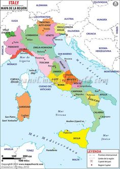 Map of the 20 regions of italy by train plane or automobile mapa de italia gumiabroncs Images