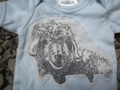 Upcycled Farm Animal Baby Onesie  Sky Blue Sheep by griffencat, $15.00
