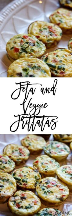 Feta and Veggie Frittatas - An easy breakfast recipe that you can grab and go on busy weekdays.  This recipe is only 2 SmartPoints on Weight Watchers for each muffin.