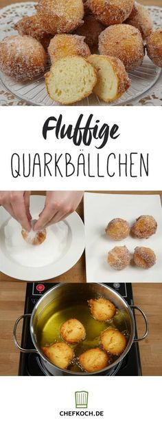 Fluffy quark balls with video tutorial from kochkino.de The post Fluffy quark balls with video tutorial from kochkino.de appeared first on Dessert Park. Keto Donuts, Baked Donuts, Donuts Donuts, Homemade Donuts, Yummy Snacks, No Bake Cake, Finger Foods, Sweet Recipes, Easy Meals