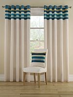 Tropical stripe curtains in aqua