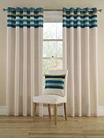 Tropical stripe curtains in aqua